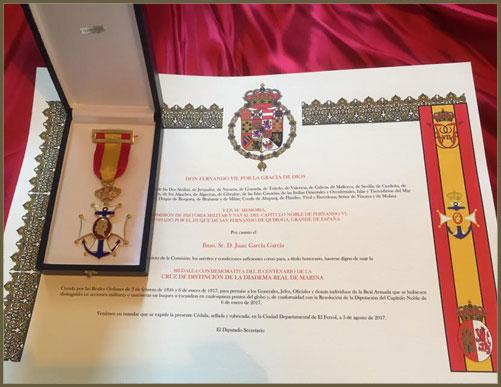 Cédula y Medalla conmemorativa
