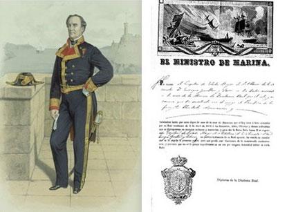 Oficial de la Real Armada ostentando la Diadema Real